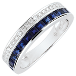 gold jewelry Constellation Ring - Zodiac - Small model - blue sapphires and diamonds - 9 carat white gold