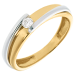 Contemporary Solitaire ring yellow and white gold