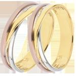 comprare on-line Coppia di Fedi Nuziali Saturno Trilogia- variazione - 3 ori - 9 carati.