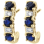 jewelry Creole Clarisse Yellow Gold Sapphire Earrings - 9 carats