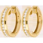 Creole din aur galben de 18K cu diamante - setate bară - 0.43 carate - 24 de diamante