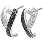 Creolen Chiaroscuro - Beweging - 9 karaat witgoud , zwarte en witte Diamanten