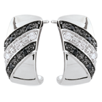 Geschenke Creolen Dämmerschein - Sonnenuntergang - Schwarze Diamanten - 9 Karat