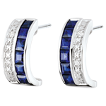 Creolen - Himmelskörper - Sternzeichen - blaue Saphire und Diamanten - Weißgold 9 Karat