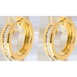 bijou Créoles or jaune 18 carats diamants - serti rail - 0.24 carats - 22 diamants