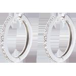 ventes en ligne Créoles semi pavées or blanc - 26 diamants