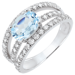 present Destiny Engagement Ring - Duchess variation - 1.5 carat topaz and diamonds - white gold 18 carats
