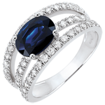 gift woman Destiny Engagement Ring - Duchess variation - 1.7 carat sapphire and diamonds - white gold 18 carats