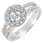 Destiny Engagement Ring - Lady - 0.2 carat aquamarine and diamonds - white gold 18 carats