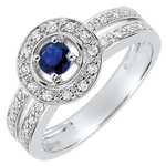 wedding Destiny Engagement Ring - Lady - 0.2 carat sapphire and diamonds - white gold 18 carats