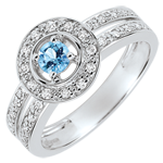 gifts women Destiny Engagement Ring - Lady - 0.2 carat topaz and diamonds - white gold 18 carats