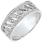 gold jewelry Destiny Ring - Theodora - 52 diamonds - white gold 9 carats