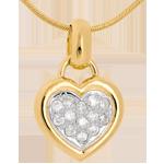 Verkauf Diamant Anhänger gerahmtes Herz in Gelbgold - 0.26 Karat - 13 Diamanten