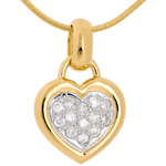 Verkäufe Diamant Anhänger gerahmtes Herz in Gelbgold - 0.26 Karat - 13 Diamanten