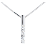 Goldschmuck Diamant Anhänger Trilogie in Weissgold - 0.22 Karat - 3 Diamanten