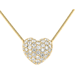 Diamant Collier Funkelndes Herz in Gelbgold - 0.85 Karat - 50 Diamanten