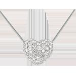 Geschenke Frau Diamant Collier Funkelndes Herz in Weissgold - 0.85 Karat - 50 Diamanten