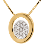 Juweliere Diamant Collier Medaillon in Gelbgold - 19 Diamanten