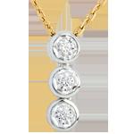 Hochzeit Diamant Collier Trilogie Sternschnuppe in Weiss- und Gelbgold - 3 Diamanten