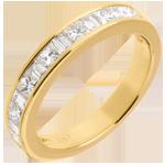 Diamant Trauring zur Hälfte mit Diamanten besetzt in Gelbgold - Kanalfassung - 0.7 Karat - 13 Diamanten
