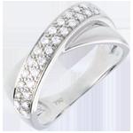Goldschmuck Diamantring Ellipse in Weissgold semi besetzt - 0.26 Karat - 26 Diamanten
