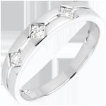 Hochzeit Diamantring Trilogie Raute Weißgold