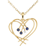 gifts women Diamond and Sapphire Sparkles Heart Pendant