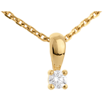 Diamond bow pendant yellow gold