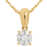 Diamond drop pendant yellow gold - 0.2 carat - 7 diamonds