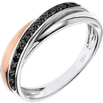 present Diamond Saturn Ring - black diamonds, Pink gold and White gold - 18 carat