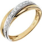 Diamond Saturn Ring - White and Yellow gold - 18 carat
