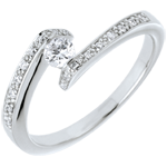 gift woman Diamond Set Shoulders Ring Promise - White gold and diamond