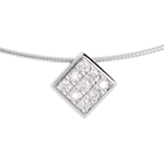 sales on line Diamond-shaped necklace white gold paved - 0.23 carat - 9 diamonds