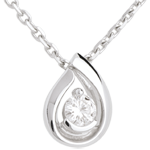 Diamond teardrop pendant-white gold - 0.21 carat