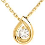 Diamond teardrop pendant-yellow gold - 0.21 carat