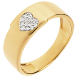sell Diamond yellow gold paved heart ring - 13diamonds