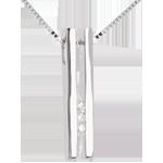 jewelry Diapason trilogy necklace white gold - 3 diamonds