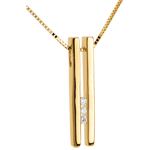 Diapason trilogy necklace yellow gold - 3 diamonds