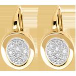 femme Dormeuses alcôve or jaune et or blanc pavé - 0.24 carats - 20 diamants