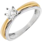 Double Arch Solitaire Ring in White Gold and Yellow Gold - 0.34 carat