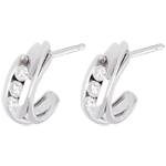 gift women Double arch trilogy earrings-white gold - 0.3 carat - 6 diamonds
