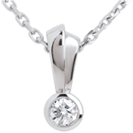 Double bow diamond pendant white gold