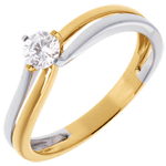 Double-fusion Solitaire ring - yellow and white gold - 0.28 carat