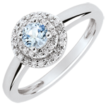 wedding Double Halo Engagement Ring - 0.23 carat aquamarine and diamonds - white gold 18 carats