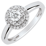 sell Double Halo Engagement Ring - 0.25 carat diamond - white gold 18 carats