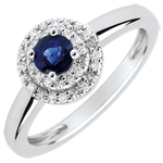 gifts Double Halo Engagement Ring - 0.3 carat sapphire and diamonds - white gold 18 carats