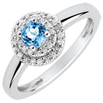 gift Double Halo Engagement Ring - 0.3 carat topaz and diamonds - white gold 18 carats