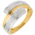 Double-hemisphere ring yellow gold-white gold paved
