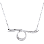 weddings Dreamy White Gold Ribbon Necklace