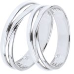 Duo d'alliances Saturne Trilogie variation - or blanc - 9 carats
